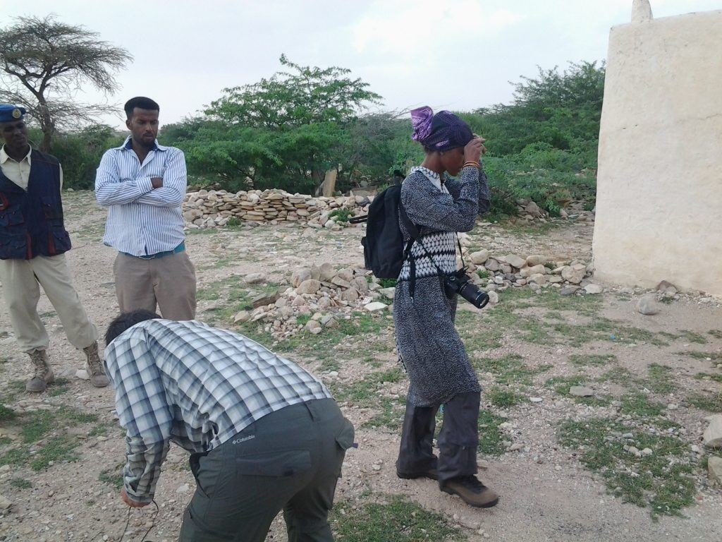 Luis Nachbin and Sada Mire setting up for the filming of the documentary 'Sada and Somaliland' at Aw-Barkhadle archaeological site