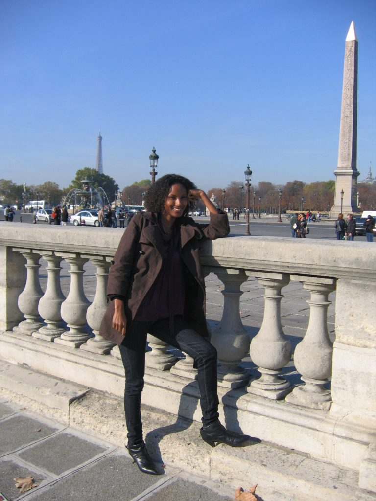 Sada Mire in Paris visiting the Louvre and the Egyptian obelisk, 2008