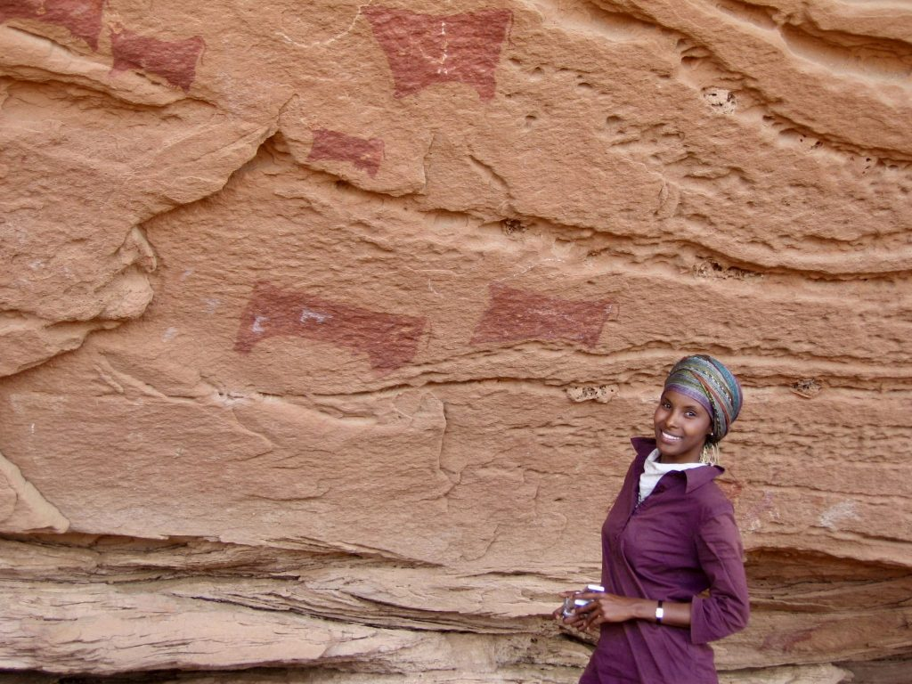 Sada Mire as one of the first person to see the rock art of Dhambalin, 5000 years old site in Somaliland, coming as a PhD candidate from the UCL's Institute of Archaeology with her local team, 2007