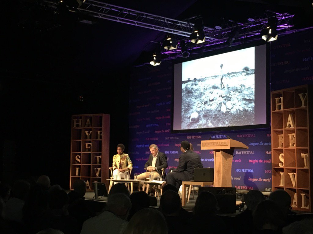 Sada with the amazing Rageh Omaar and Mary Harper at the Hay Festival of Literature, 2017