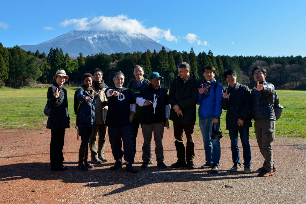 Dr Sada Mire with Professor Konaka and his scholarly team at Mount Fuji with a local DJ and farmer, 2015
