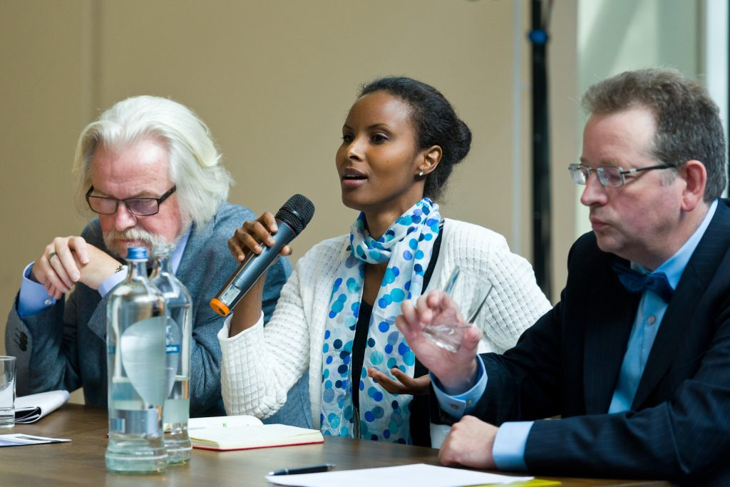 Dr Sada Mire with colleagues including professor John Barrett (Bristol) at Leiden University, 2014
