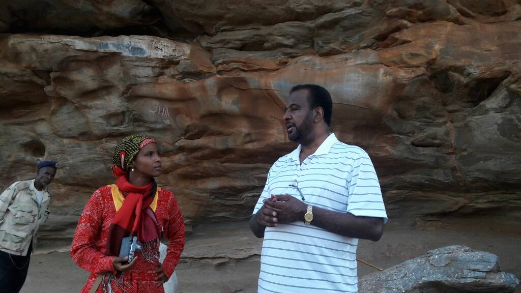 Dr Sada Mire with a friend, Saudi tourist at Laas Geel, Somaliland, August, 2017