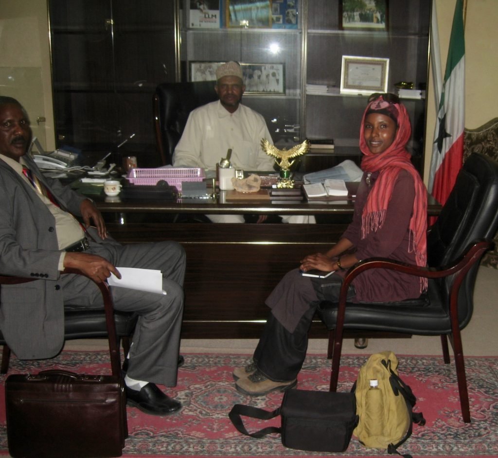 Sada Mire as the Director of Archaeology meeting with Vice President of Somaliland, October, 2007