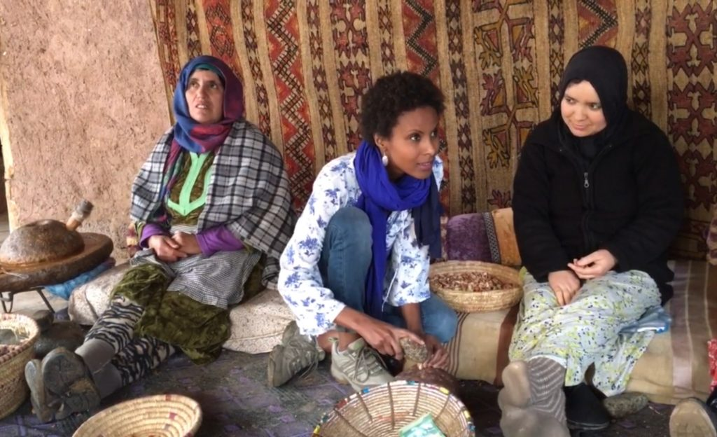 Dr Sada Mire recording traditional knowledge at the Atlas Mountains with local women, 2016