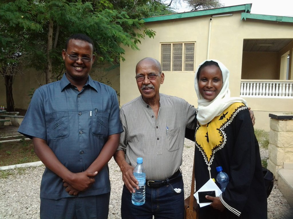 Nurrudin Farah, a Somali and International Treasure, novelist ('Hiding in Plain Sight' and 'From a Crooked Rib') with Sada Mire and Horn Heritage's Abdishakur Sulub, 2015
