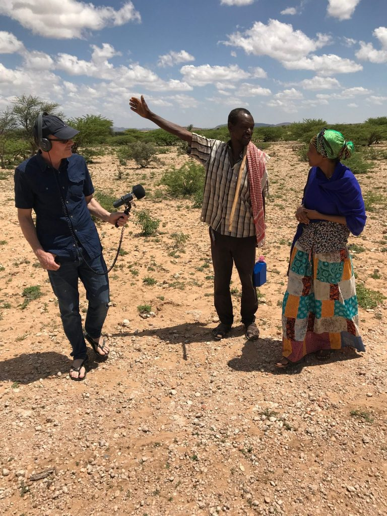 Sada with BBC's Neil Trevithick interviewing a local herder at the rock art site of Dhagah Kure for our upcoming BBC World Service documentary