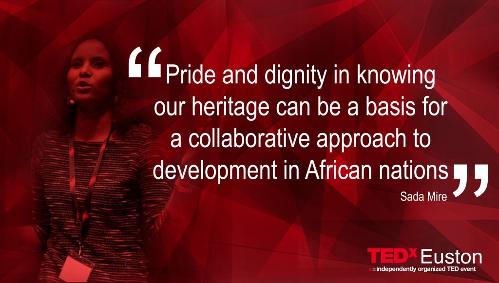 Sada Mire at TEDxEuston delivering her talk 'Cultural Heritage a basic human need'