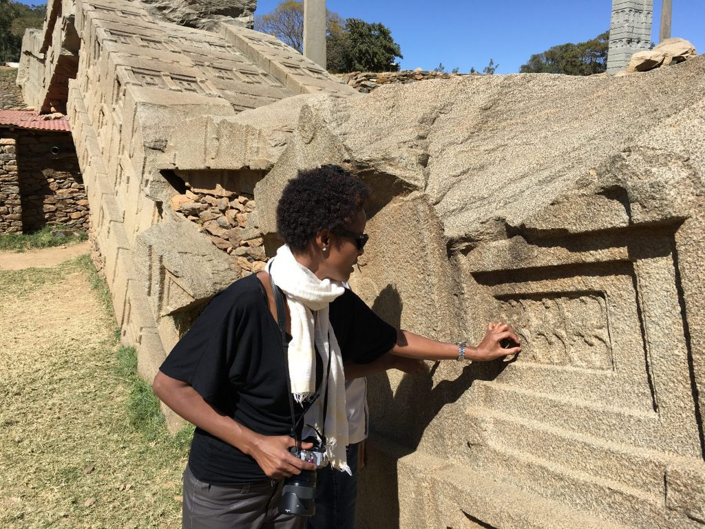 Dr Sada Mire at Aksum, World Heritage Site, Ethiopia