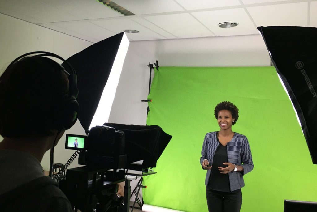 Sada Mire during the recording of the MOOC Heritage Under Threat, Leiden University