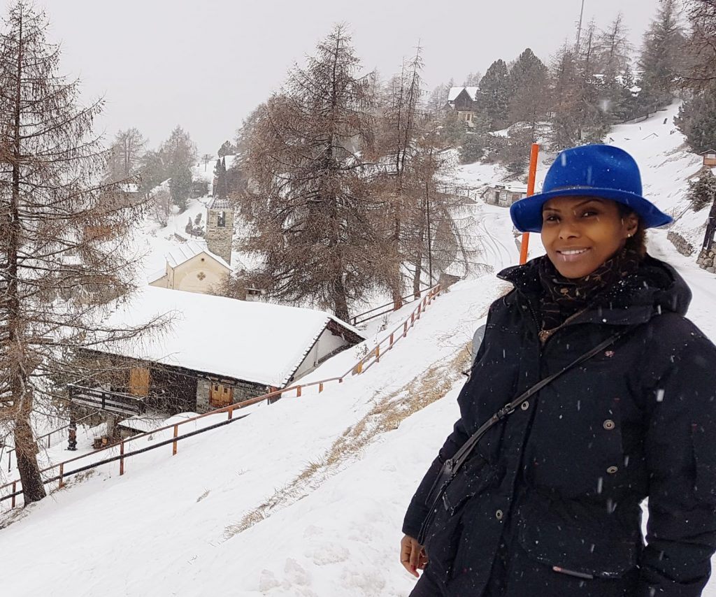 Sada Mire at explorer Ella Maillart's chalet/museum in Chandolin, the Swiss Alps, December, 2018.