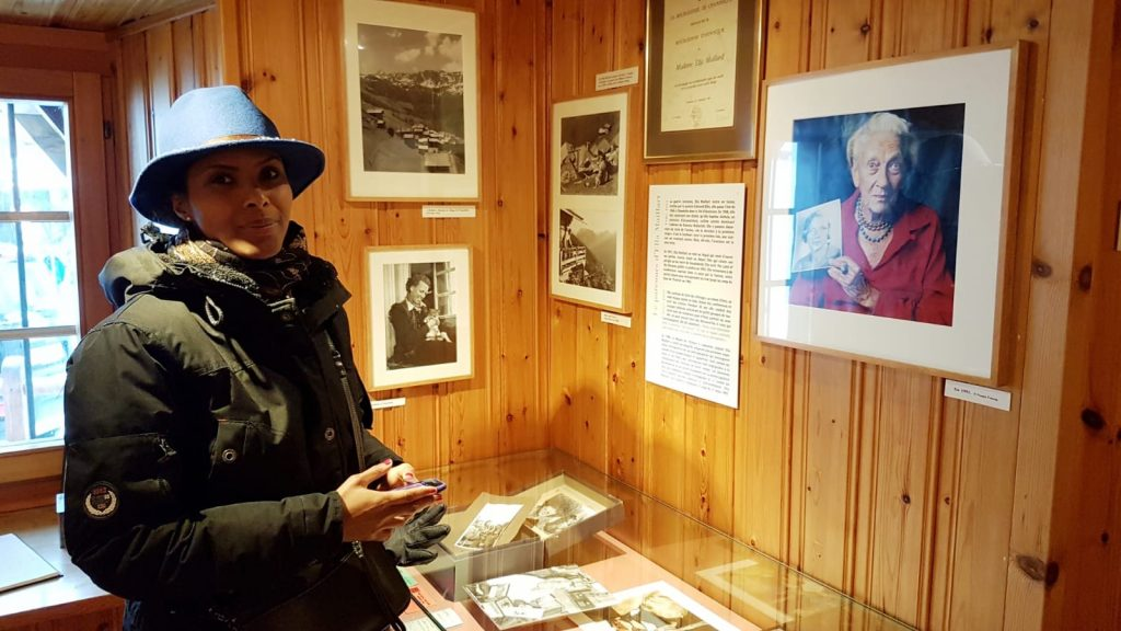 Sada Mire at explorer Ella Maillart's museum in Chandolin, the Swiss Alps.