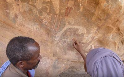 Dr. Sada Mire at Laas Geel explaining rock art in Somali