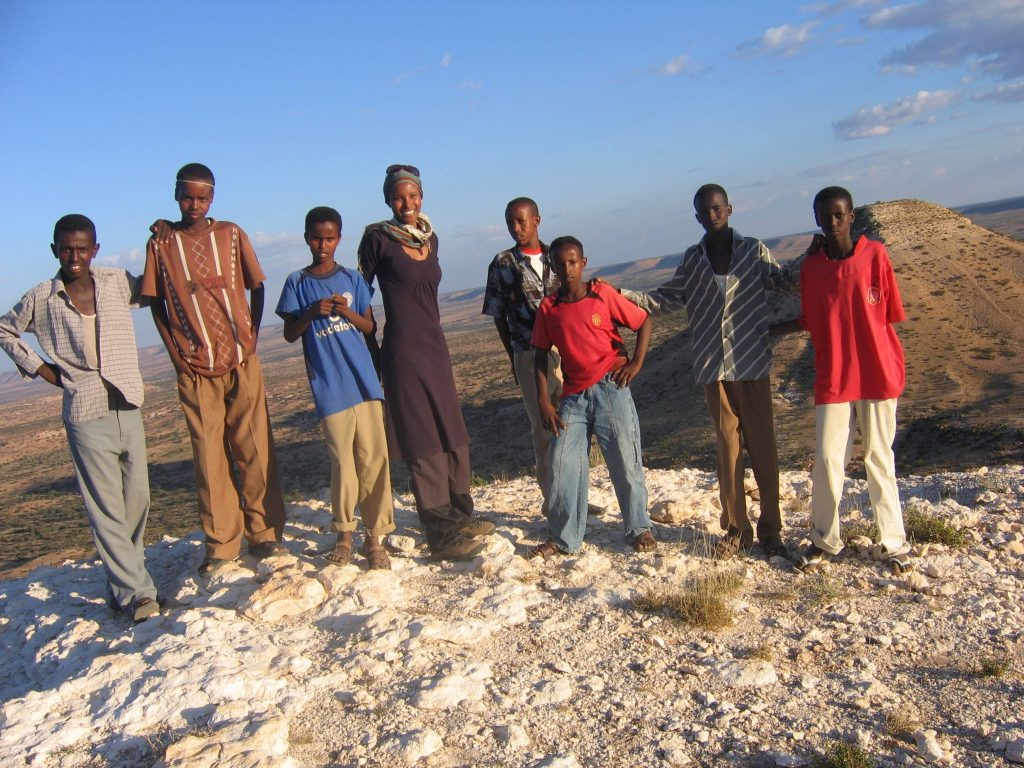 Sada Mire at the top of Naaso Hablood is where it is at: the youth, our future. Somaliland 2007.