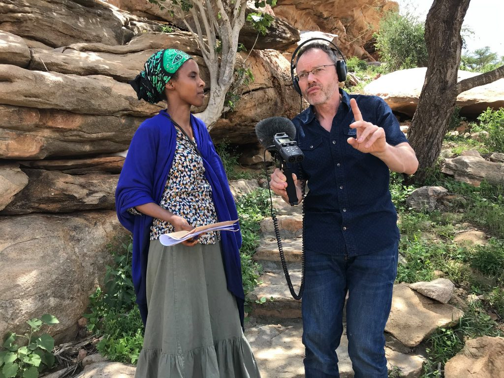 Sada Mire recording BBC World Service documentary 'Stories on the Rocks' with Neil Trevithick, and Abdirahman Bidhaan Daahir, 2018