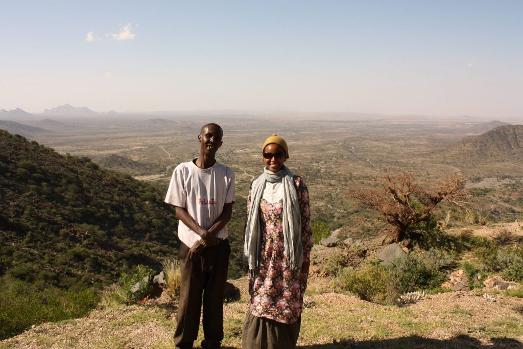Sada Mire with Abdulahi, her long time driver and great friend doing survey of Islamic Medieval ruined town of Fardowsa,  Sheikh