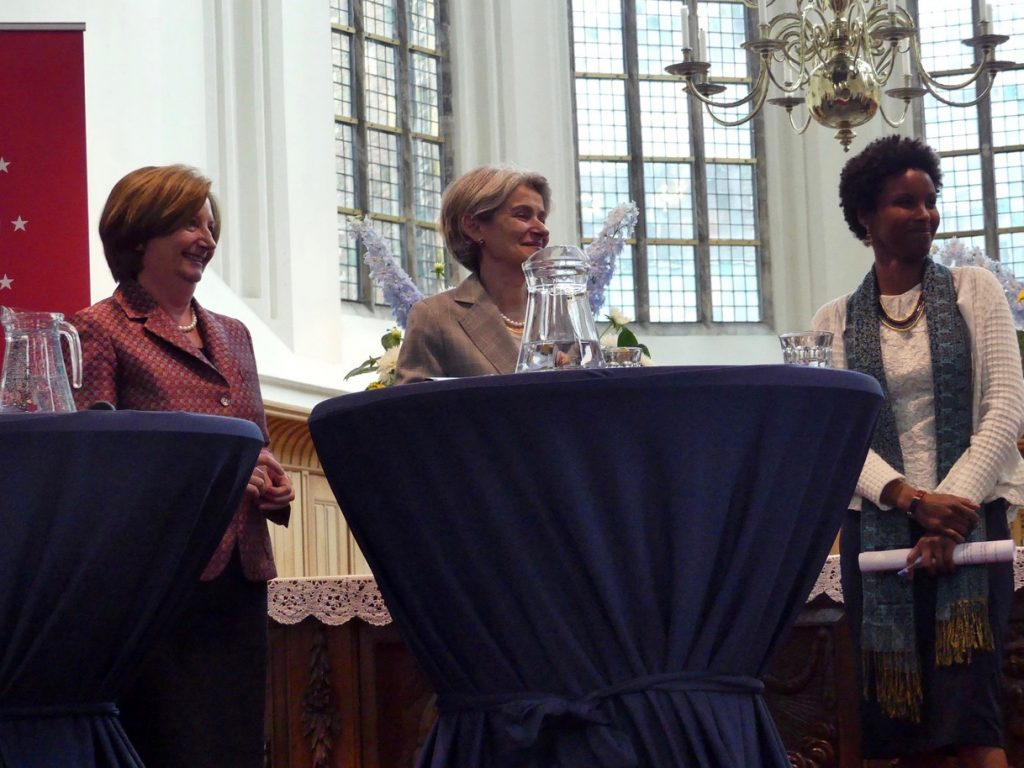 Dr Sada Mire with ICC President Dr Silvia F. du Gurmendi and UNESCO DG Irina Bokova delivering the Europe Lecture