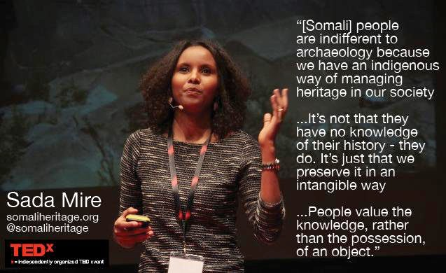 Global Heritage Fund poster with quote and picture from Sada Mire's TEDxTalk
