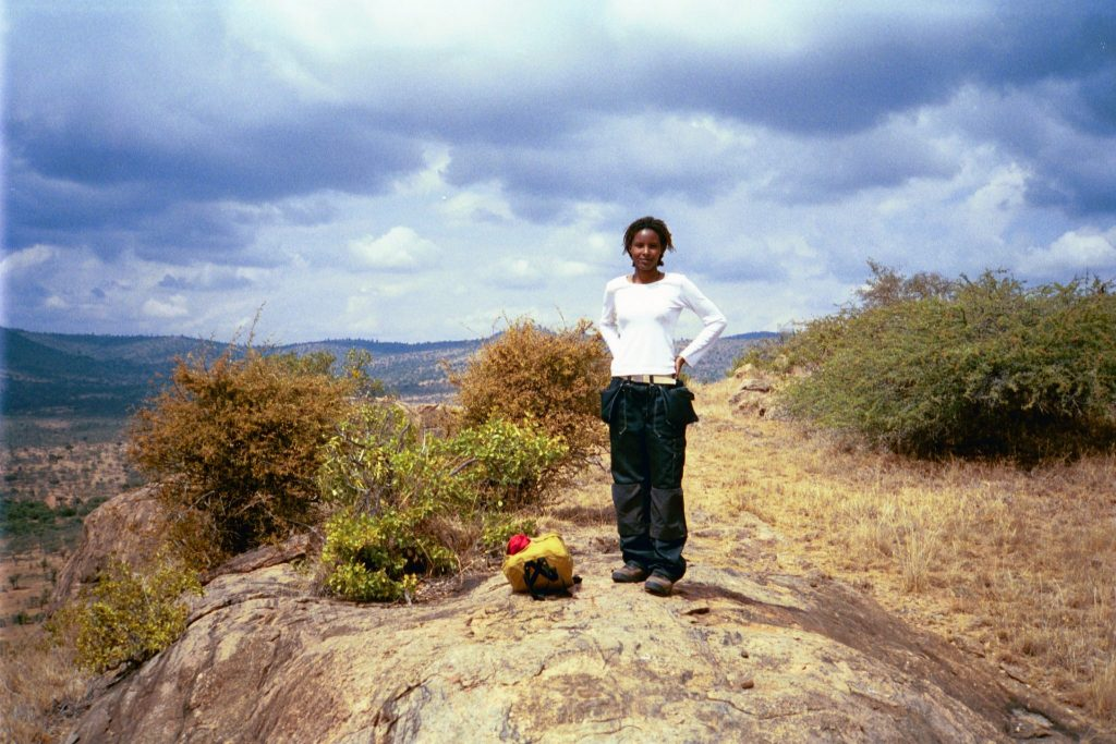 Sada Mire conducting archaeological survey and excavation with the British Institute in Eastern Africa at Laikipia,  Kenya, 2004.