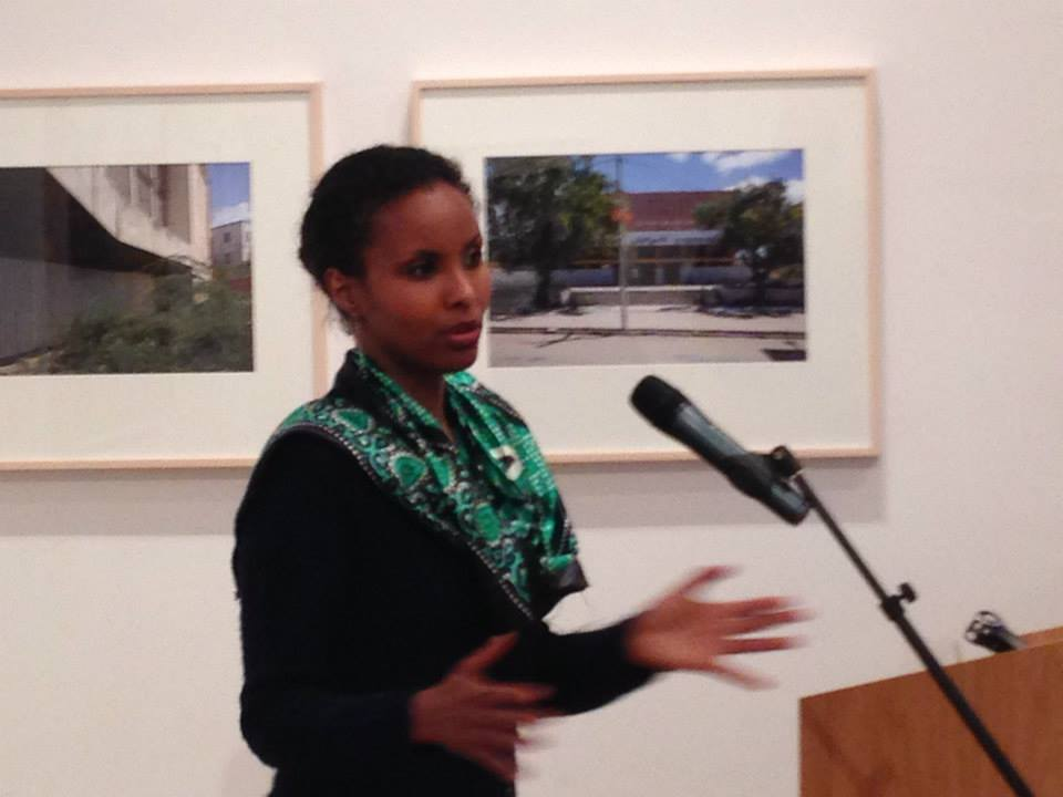 Dr Sada Mie speaking on Mogadishu Heritage and Preservation at the Mosaic rooms, London, 2014