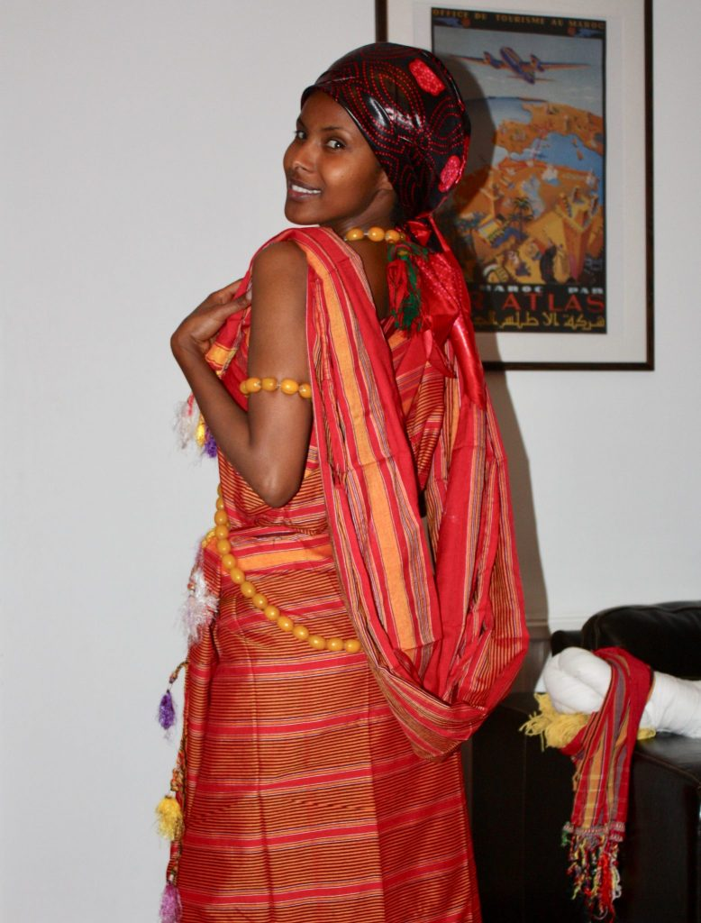 Trying out a traditional Somali dress for an official occasion
