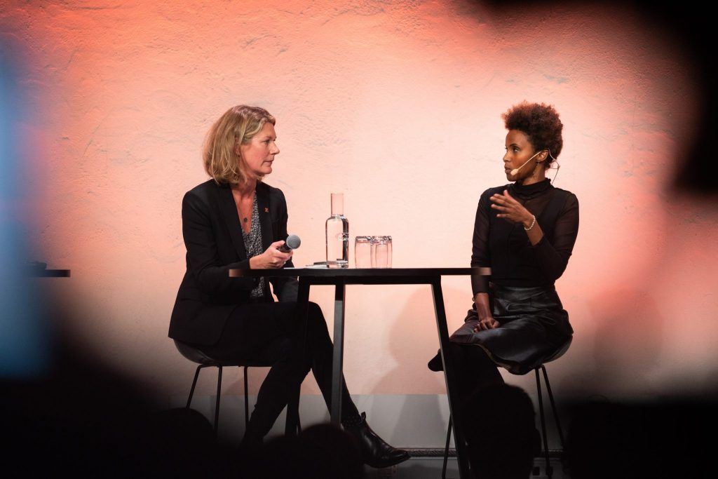 Author Karin Altenberg in conversation with Sada Mire on her journey in Somali heritage  at the 2018 Swedish National Heritage Board meeting in Stockholm.Photo: Fredrick Streiffert CCBY)